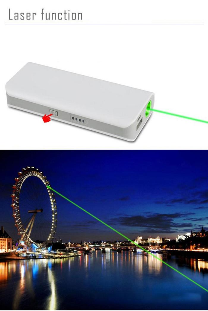 Laser Mobile Power Bank 5200mAh Hohe Kapazität mit Grün Laser 2 in 1 ...